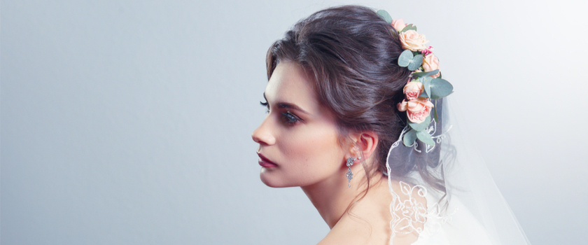 Bridal Partial Upstyle with Veil